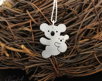 Koala necklace 925 sterling silver texture finish Mother & baby koala necklace pendant Mother Daughter cute animal Necklaces  Italian chain
