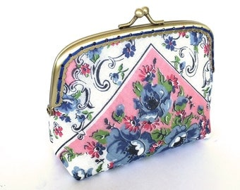 Change Purse made from a vintage handkerchief with gold kiss lock frame