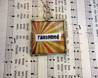 Christian Art Necklace Hand Soldered Charm Ransomed Christian Steampunk by metrocottage