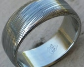 """Stainless steel Damascus """"LEAF"""" Customizable ring!"""