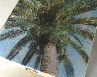 Dreamy Palm Box - Palm Trees Vacation Tropical Ocean Coastal - Photograph on Wood - Memory Card Treasure Momento Jewelry Cigar 8x8
