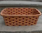 magazine storage organizing basket Red Elm wood