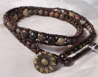 Double Wrap Chinese Painting Jasper Gemstone Leather & Brass Wire Wrap Bracelet