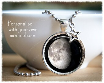 Moon Phase Necklace • Birth Moon • Personalised Jewelry • Full Moon • Moon Jewelry • Galaxy Necklace