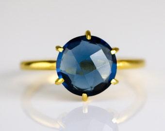 Kyanite Ring, September Birthstone Ring, Round Ring, Gemstone Ring, Stacking Ring, Gold Ring, prong set ring, Kyanite jewelry, stacking ring