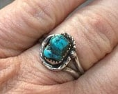 Antique Turquoise Ring Vintage Native American Indian Turquoise Ring Approx size 7.5