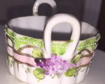 Porcelain Salt Dish Lovely Antique Art Nouveau Hand Painted Miniature Salt Cellar Dish