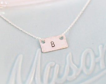 Sterling Mini Monogram Necklace -Silver Floating Initial - Monogram Charm -Initial Charm Necklace - Monogram Jewelry