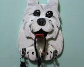 Westie Wooden Leash Holder,  Home Decor, Dog Leash Holder, Dog Leash Hanger