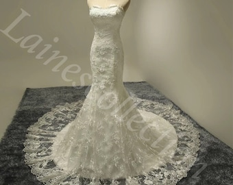 NEW made Lace Mermaid wedding dress with removable lace top