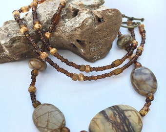 Necklace Earthy Browns Picasso Jasper