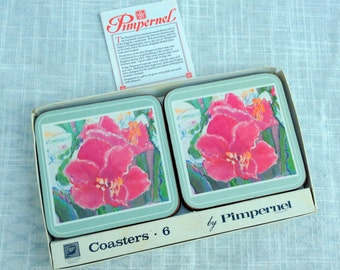 "Pimpernel Flower Coasters   Set of 6 Made in England by Pimpernel  80's Vintage  Cork Backed   4"" square   VGCond  Original Box Distressed"