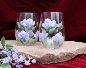 Hand Painted Stemless Wine Glasses (Set of 2) - Lavender Roses