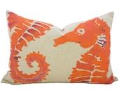Orange Seahorse Pillow, Nautical Lumbar Pillow, Watercolor, TheWatsonShop
