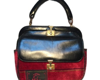 Roberta Di Camerino Vintage Black Leather and Red Velour Handbag