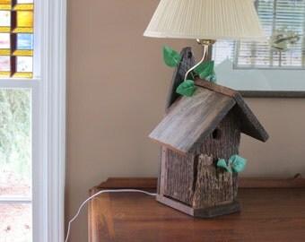 Rustic barnwood birdhouse lamp