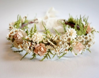 Bridal Flower Crown, Blush Wedding, Dried Flower Crown, Flower Crown, Mommy & Me Crown, Headdress, Boho Wedding, Head Wreath, DUSTY ROSE