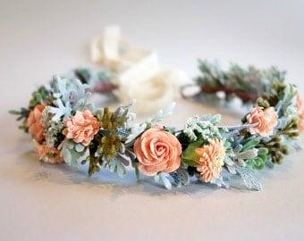 Peach Flower Crown, Boho Headdress, Bridal Crown, Flower Crown, Peach Wedding, Floral Head Wreath, Boho Wedding, Summer Wedding, SORBET MED