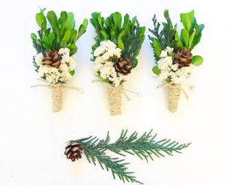 Rustic Boutonniere, Woodland Boutonniere, Winter Wedding, Winter Boutonniere, Boxwood, Lapel Pin, Christmas Boutonniere, Natural Boutonniere