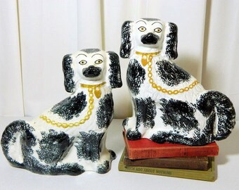 A Pair of Antique Staffordshire Spaniel Hearth Dogs Sponge Painted Wally Dogs