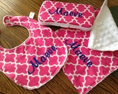 Pink quatrefoil personalized Baby Shower gift, Bib,burp and wipescase ,Monogram included.