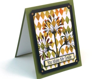 Abstract dandelion flowers harlequin blank card, Smile, Floral thinking of you greeting card