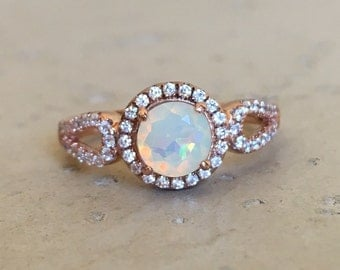 Double Band Opal Ring- Opal Engagement Ring- Rose Gold Opal Ring- Halo Opal Promise Ring- Round Opal Solitaire Ring- October Birthstone Ring