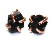 Raw Black Tourmaline Stud Earrings Organic Earring Black Tourmaline Jewelry Free Form Earring Tourmaline Prong Set Earrings Raw Gems Crystal