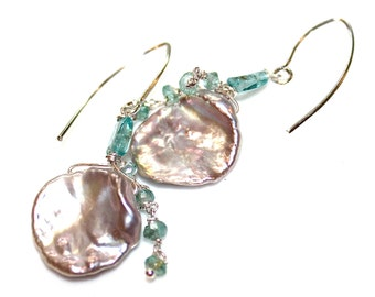 Large Pearl Earrings Petal Pearl Pondslime Pearl Earrings Large Pearl Earrings Large Keshi Pearl Apatite Earrings Pearl Jewelry FizzCandy