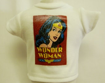 Wonder Woman Theme Silver Glitter Transfer T-Shirt For 16 or 18 Inch Dolls Like The American Girl Or Bitty Baby