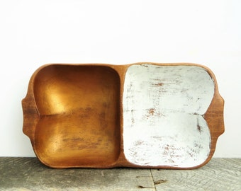 Rustic Modern Catchall - Divided Tray - Copper and White Decor - Handpainted Unique