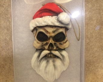 Gift in box Christmas ornament skeleton Santa clause nightmare before tree halloween unusual strange