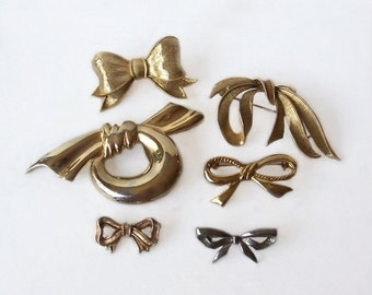 Six Vintage Bows Brooches Wear Upcycle Recyle Christmas Craft Supply