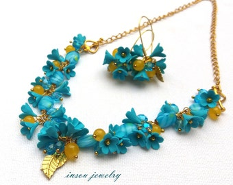 Forget Me Not, Flower Jewelry, Turquoise Jewelry, Boho Jewelry, Floral Jewelry, Necklace Turns Into A Bracelet And Earrings, Gift For Her