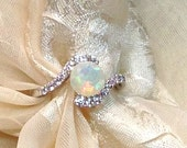 SALE 20% OFF Opal Bypass Ring or Engagement Ring Handmade Jewelry