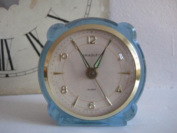 Vintage Bradley Alarm Clock Germany Lucite Alarm Clock