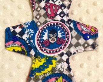 "10"" flannel top superhero girlpower moderate cloth pad"