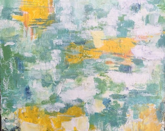Original Acrylic Abstract  Painting-Lily pond