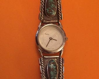 Vintage Scrumptious Navajo SG Sterling Hidden Treasure Turquoise Watch Tips