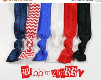 ON SALE 10% OFF 6 pcs Elastic Hair Tie - Memorial Day/4th July - Patriotic Hair Ties - Red Chevron, Red, White, Black, Navy and Royal Blue-T