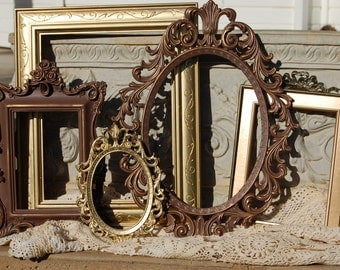 Shabby Chic Picture Frames / Rustic Ornate Picture Frame Set /  Picture Frames / Vintage Style Frames