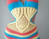 Triangle One Piece Crochet Monokini,crochet bikini cover up, Lace crochet, Boho chic, summer style, festival top