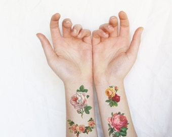 Temporary Tattoo rose - roses tattoo - roses temporary tattoos - 7 vintage Roses tattoos - rose temporary tattoo