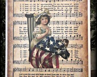 America The Beautiful Americana Small Print - FREE SHIPPING