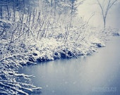 Landscape photography, snow photograph, winter decor, snow art, lake photo, nature photography, wall art - At Snowy Water's Edge