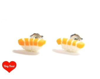 Mini Nigiri Sushi Stud Earrings (Salmon)