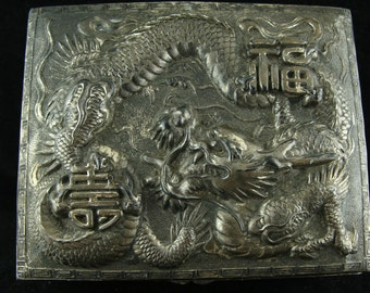 Vintage Japanese Box with Dragon Design