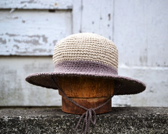 Straw Sun hat | Wide brim Hat for women | Beach Hat | Ranger hat|  Made in USA Ecofriendly | Organic Cotton and Hemp | color purple