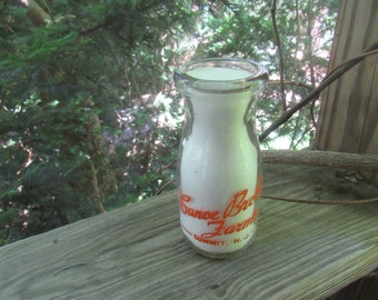 canoe brook farms summit nj vita-rich milk or cream bottle 1/2 pint