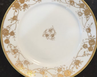 HANDPAIINTED NIPPON PORCELAIN Dish Roses, Vines, Leaves, Hollywood Regency, Romantic Home, Paris Apartment at Ageless Alchemy